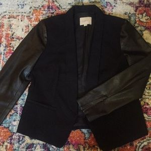 Black blazer w/ tuxedo lapel & leatherette sleeves